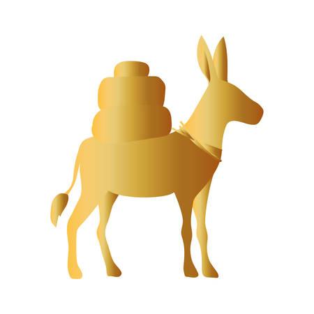 golden donkey manger animal character vector illustration design Ilustrace