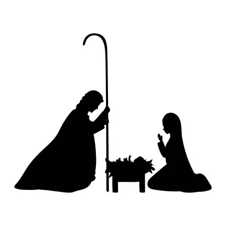 cute holy family silhouette manger characters vector illustration design Ilustrace