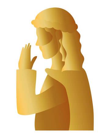 golden saint joseph manger character vector illustration design