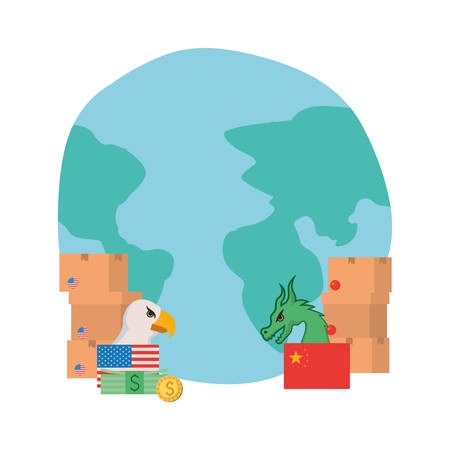 commercial war between china and usa design, Money finance commerce market payment invest and buy theme Vector illustration Stock fotó - 133700788