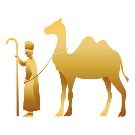 king magician with camel golden characters vector illustration design Illusztráció