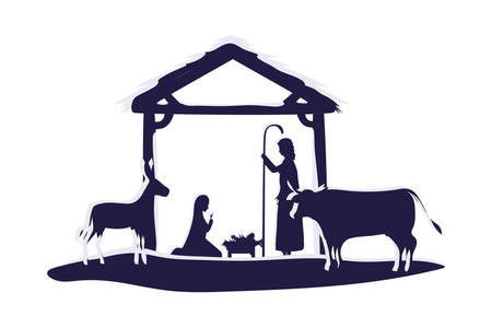 holy family in stable with animals manger characters characters vector illustration