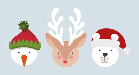 happy mery christmas card with characters vector illustration design Archivio Fotografico - 133701031
