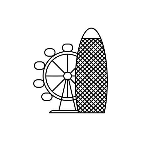 panoramic wheel attraction isolated icon vector illustration design