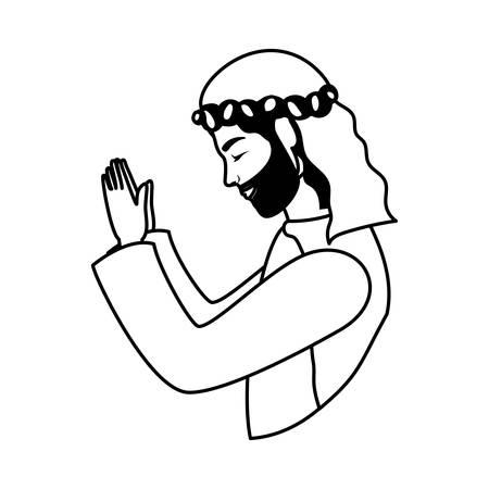 saint joseph manger character icon vector illustration design
