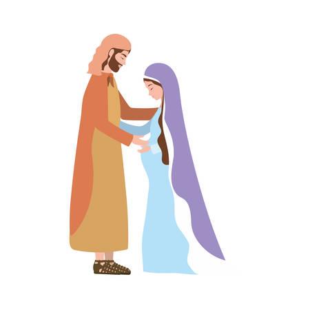 saint joseph and mary virgin pregnancy manger characters vector illustration Ilustrace
