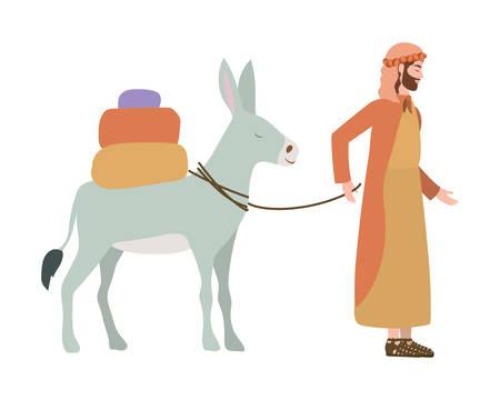 saint joseph with mule manger characters vector illustration design Ilustrace