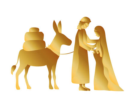 golden joseph and mary virgin in mule characters vector illustration