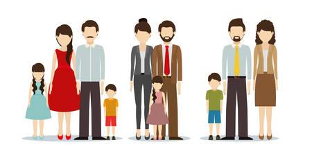 Padres y madres con diseño de hijos, relación familiar avatar estilo de vida persona y personaje tema ilustración vectorial