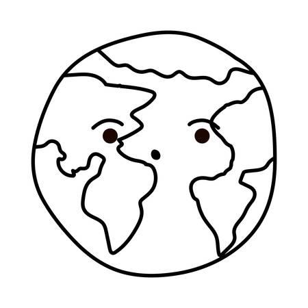 Planetenkugeldesign, Kontinenterdeweltkugelozean und Universumthema Vektorillustration