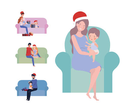 family members with christmas hats celebration vector illustration design