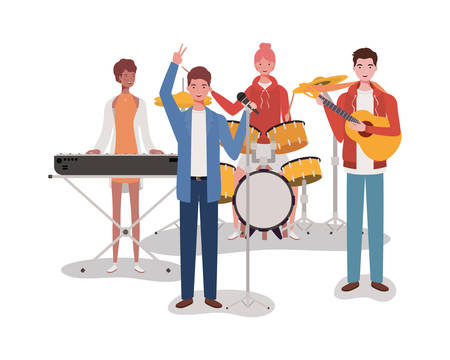 group music band playing instruments characters vector illustration design