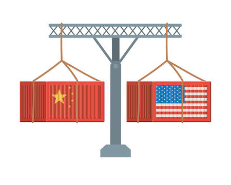 commercial war between china and usa design, Money finance commerce market payment invest and buy theme Vector illustration