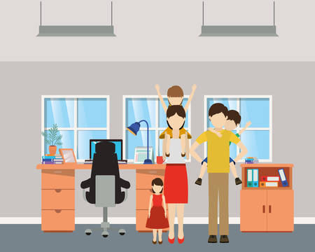 Father and mother with sons design, Family relationship avatar lifestyle person and character theme Vector illustration