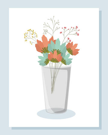 Flowers inside vase design, floral nature plant ornament garden decoration and botany theme Vector illustration