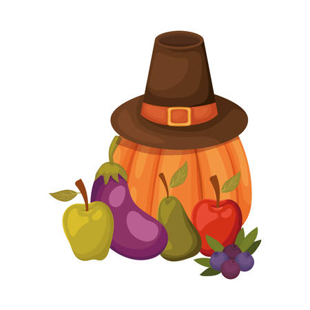 Happy thanksgiving day design, Autumn season holiday greeting and traditional theme Vector illustration Reklamní fotografie - 134029128