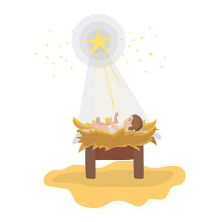jesus christ baby in cradle with star manger character vector illustration design