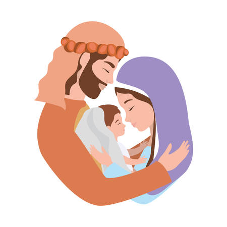 cute holy family characters vector illustration design