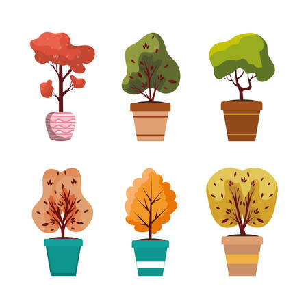 autumn plants in ceramic pots icons vector illustration design 스톡 콘텐츠 - 134050233