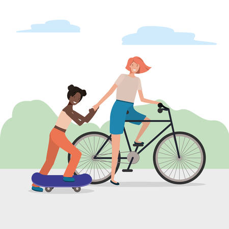 Women with bike and skateboard design, Vehicle bicycle cycle lifestyle sport and transportation theme Vector illustration