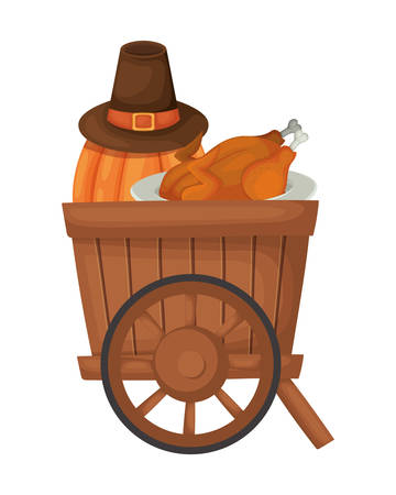 Happy thanksgiving day design, Autumn season holiday greeting and traditional theme Vector illustration Reklamní fotografie - 134050029