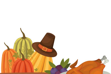 Happy thanksgiving day design, Autumn season holiday greeting and traditional theme Vector illustration