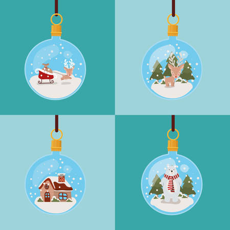 happy merry christmas card with balls hanging vector illustration design