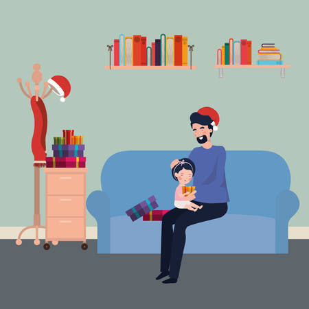 father and daughter in livingroom christmas celebration vector illustration design