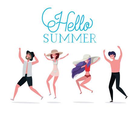 Boys and girls with swimwear design, women men summer beach vacation and travel theme Vector illustration Illustration
