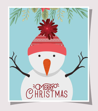 happy merry christmas card with snowman character vector illustration design 일러스트