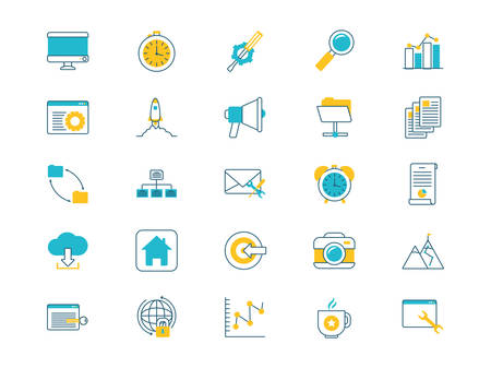 e-learning i biznes zestaw ikon wektorowych ilustracji projekt Ilustracje wektorowe