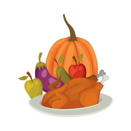 Happy thanksgiving day food design, Autumn season holiday greeting and traditional theme Vector illustration Reklamní fotografie - 134050150
