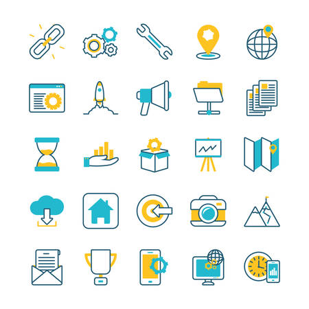 elearning and business set icons vector illustration design
