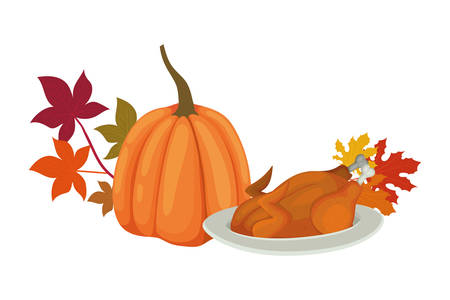 Happy thanksgiving day design, Autumn season holiday greeting and traditional theme Vector illustration Reklamní fotografie - 134048874