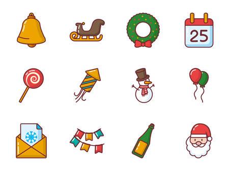Icon set design, Merry christmas season decoration card invitation celebration and holiday theme Vector illustration Ilustração