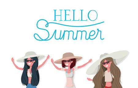 Girls with swimwear design, Swimsuit woman summer female vacation and travel theme Vector illustration