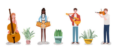 group music band playing instruments and houseplant vector illustration design Ilustrace