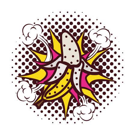 fresh fruit banana with splash pop art style vector illustration design