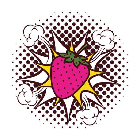 fresh fruit strawberry with splash pop art style vector illustration design