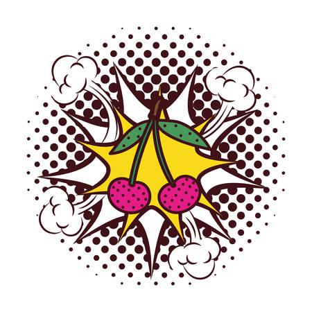 fresh fruit cherries with splash pop art style vector illustration design