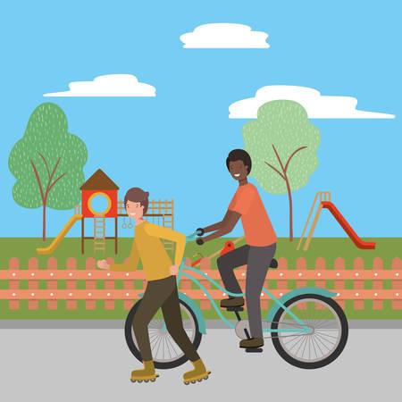 Boy riding bike design, Vehicle bicycle cycle lifestyle sport and transportation theme Vector illustration Illustration
