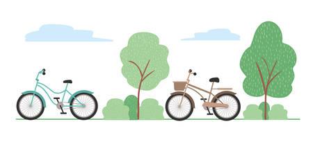 Vintage bikes design, Vehicle bicycle cycle lifestyle sport and transportation theme Vector illustration Illustration