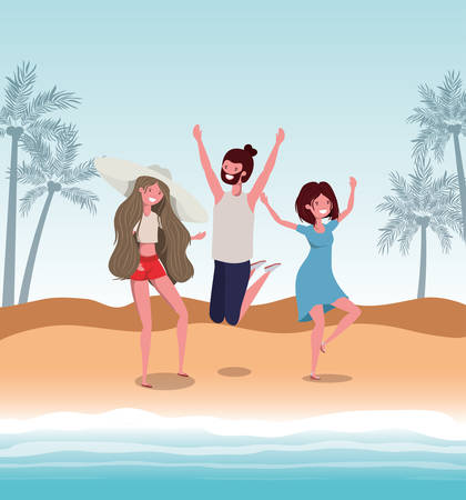 Boy and girls with swimwear design, women men summer beach vacation and travel theme Vector illustration