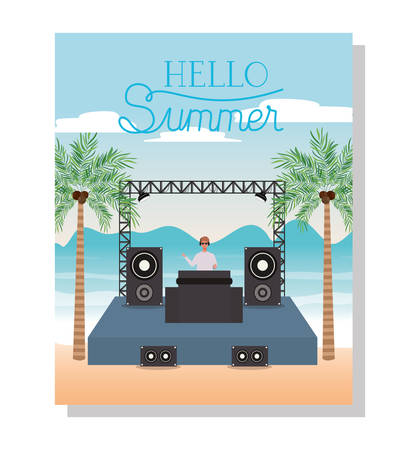 Music concert design, Hello summer vacation beach tropical relaxation outdoor nature tourism island and season theme Vector illustration Illustration