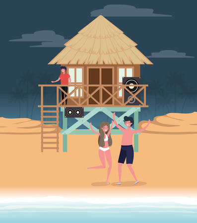 Boy and girl with swimwear dancing on the beach design, summer vacation and travel theme Vector illustration Illustration