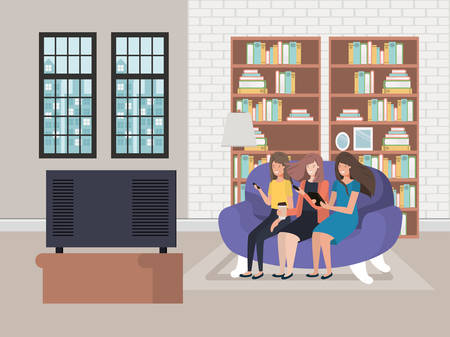 Avatar women sitting on the couch design, Girls females person people human and social media theme Vector illustration
