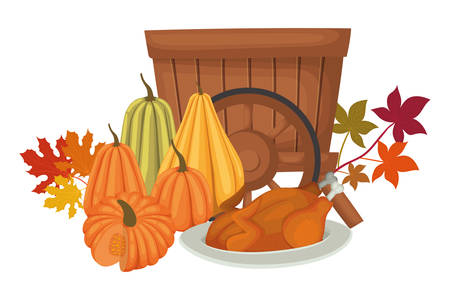 Happy thanksgiving day design, Autumn season holiday greeting and traditional theme Vector illustration Reklamní fotografie - 134049429