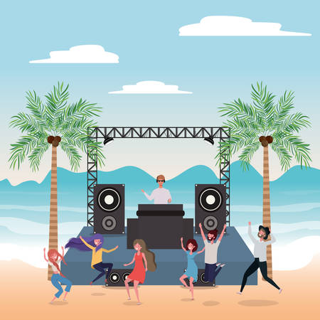 People dancing on the beach design, Summer vacation travel sea and lifestyle theme Vector illustration Stock Vector - 134049446