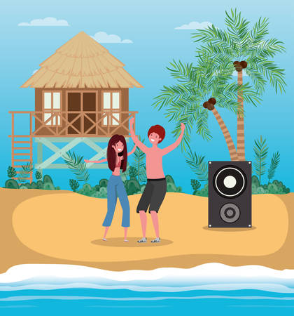 Boy and girl with swimwear dancing on the beach design, summer vacation and travel theme Vector illustration Stock Vector - 134049453