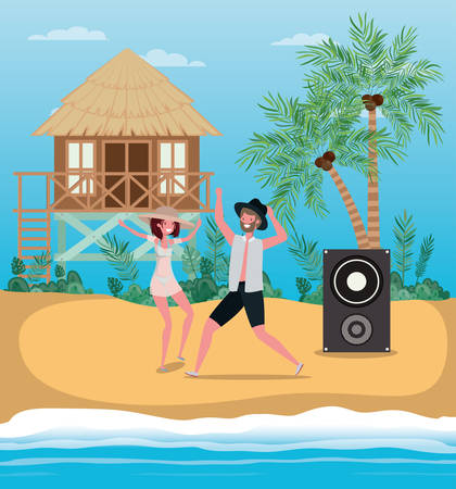 Boy and girl with swimwear dancing on the beach design, summer vacation and travel theme Vector illustration